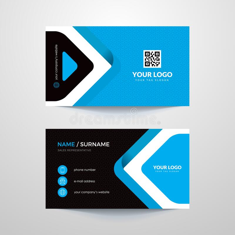 Business card. Business card layout with blue elements vector illustration