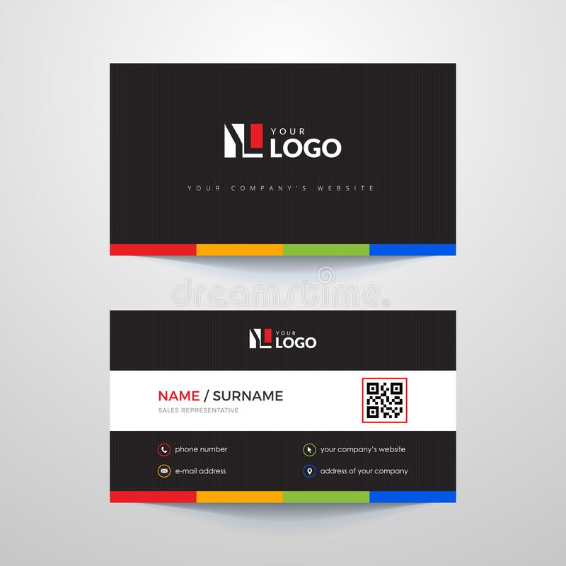 Business card. Business card layout with colorful elements royalty free illustration