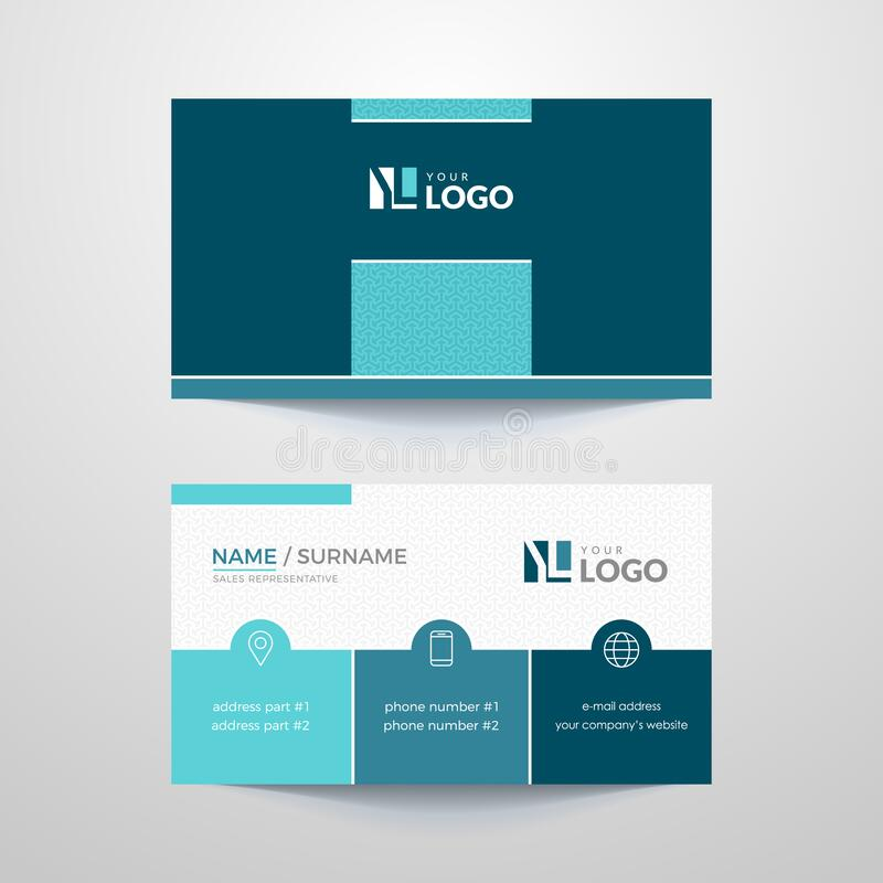 Business card. Business card layout with mint elements stock illustration