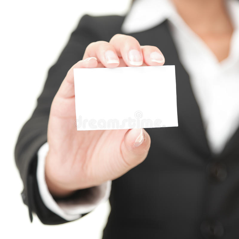 Business card - businesswoman holding blank sign. Business card closeup - businesswoman in black suit holding blank empty sign stock images