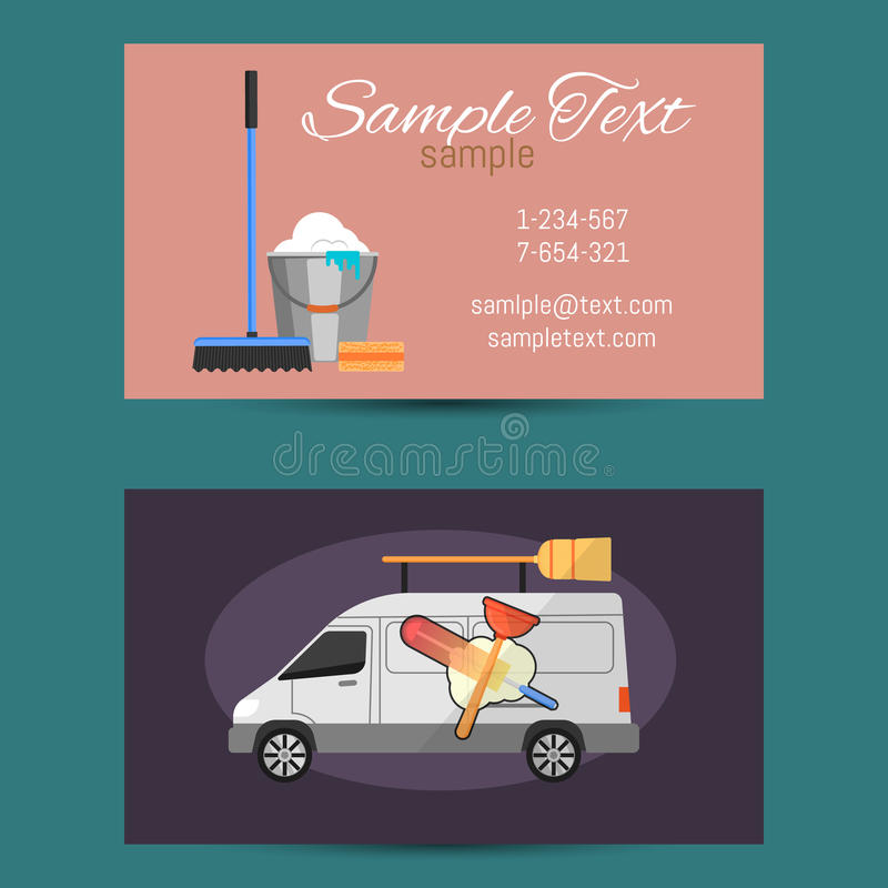 Business Card Of Cleaning Service Stock Vector - Illustration of ...