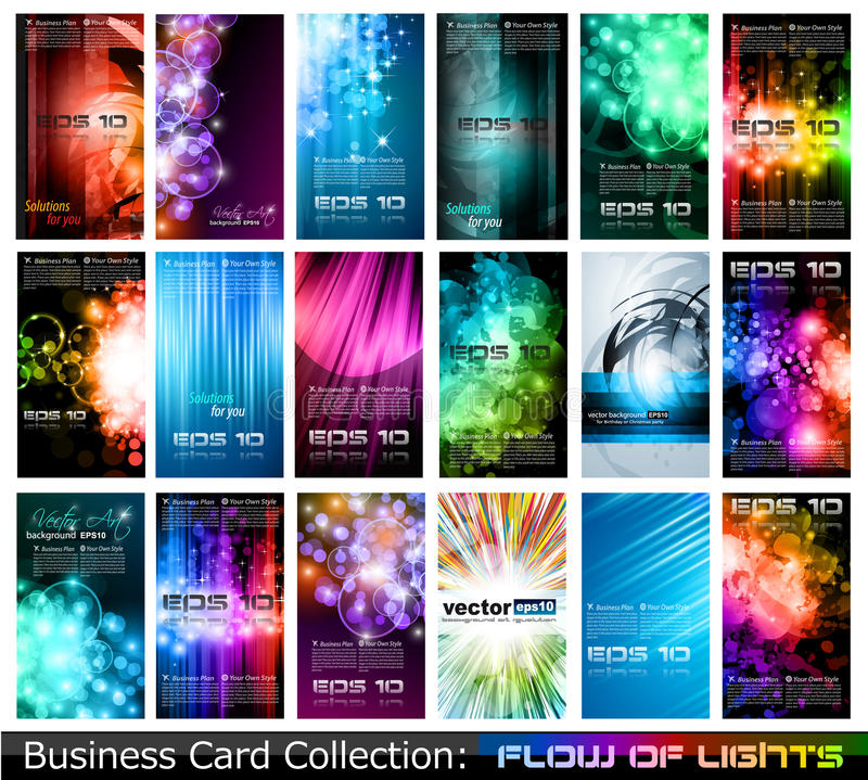 Business Card Collection:. Abstract Business Card Collection: Flow of lights vector illustration