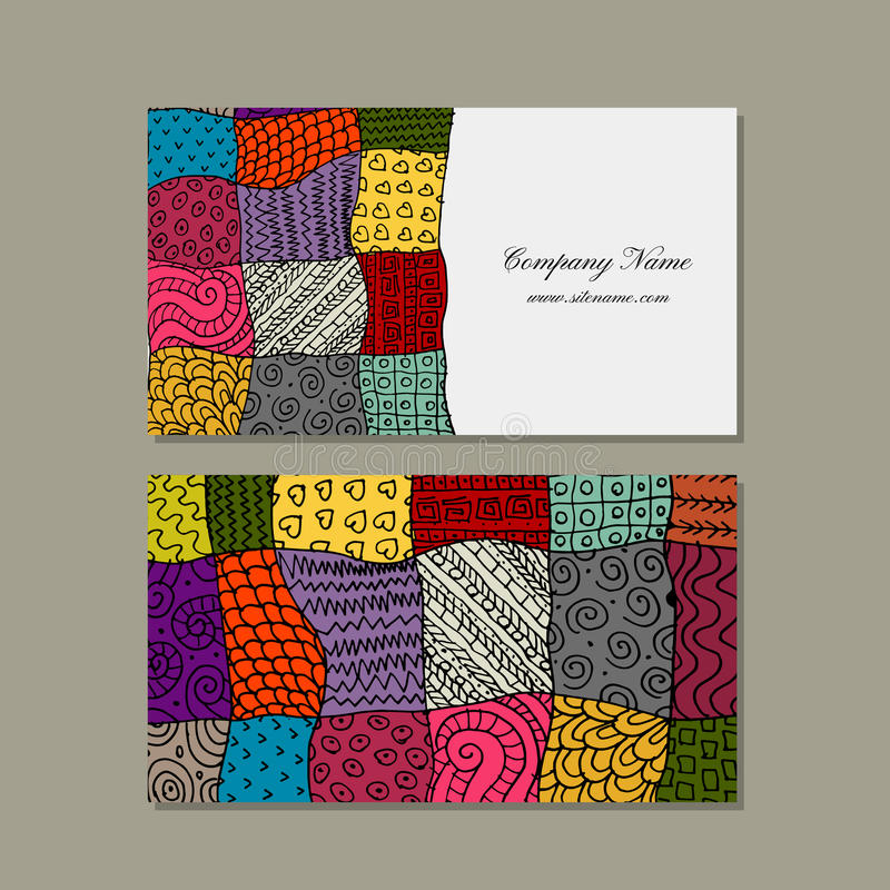 Business Card Collection, Patchwork Carpet Design Stock Vector ...