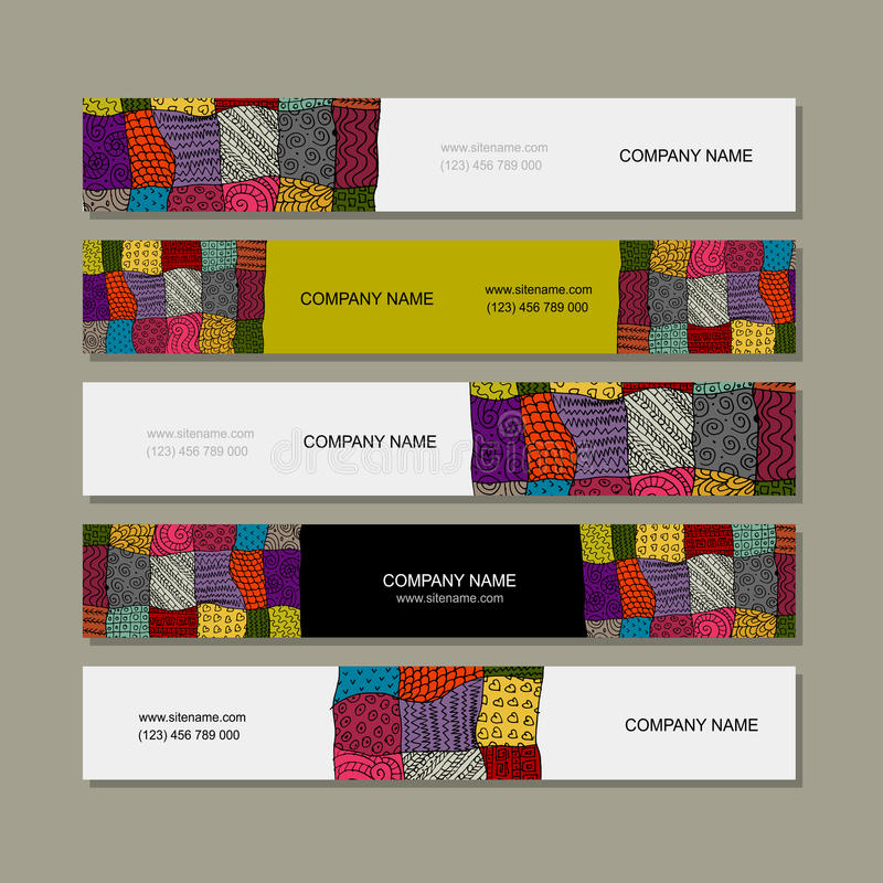 business card collection patchwork carpet design stock vector