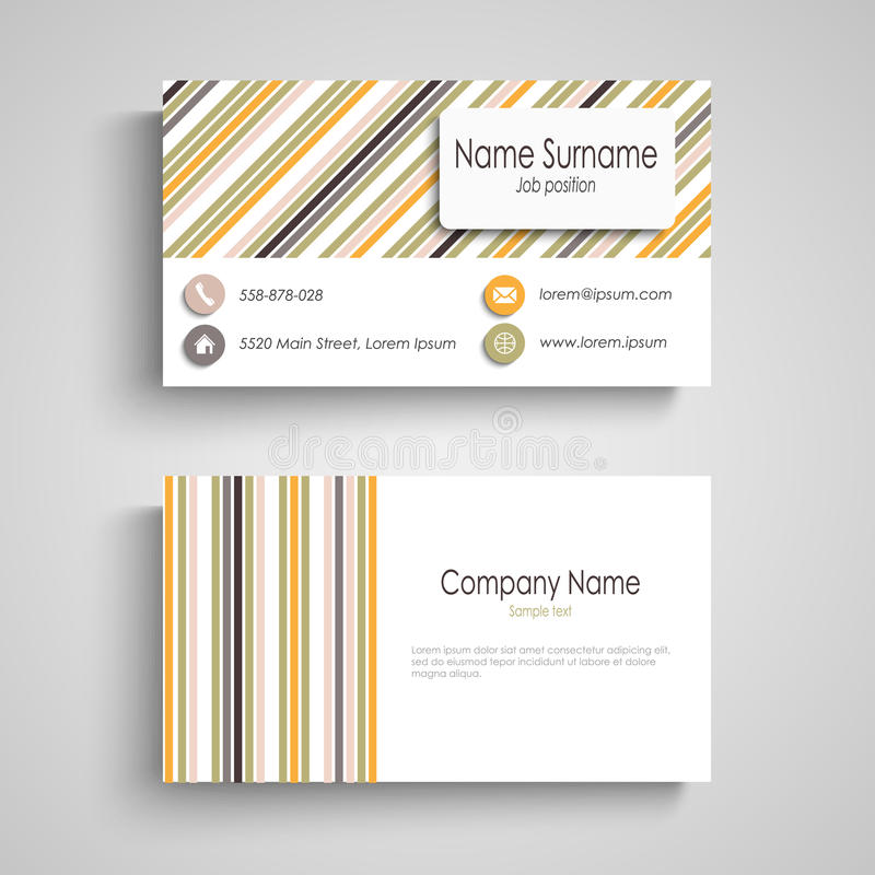Business card with colorful retro stripes template royalty free illustration