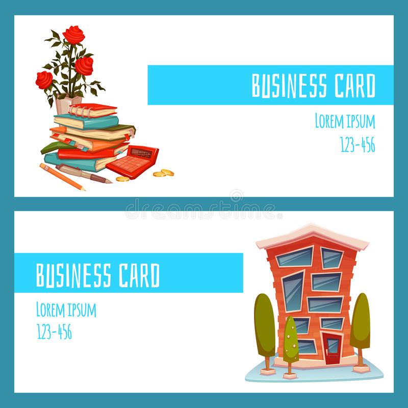 Business card concept with office building and accountant things. Vector illustration vector illustration