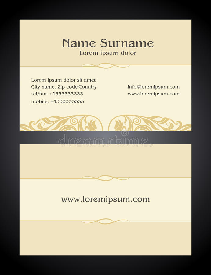 Business card creative design vintage elegant style stock business card creative design vintage elegant style light print front and back samples luxury templates in classic colors blank layout for your idea reheart Images