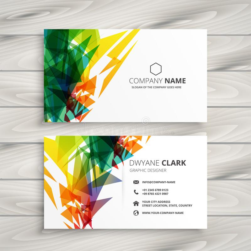 Business card design with abstract colorful shapes royalty free illustration
