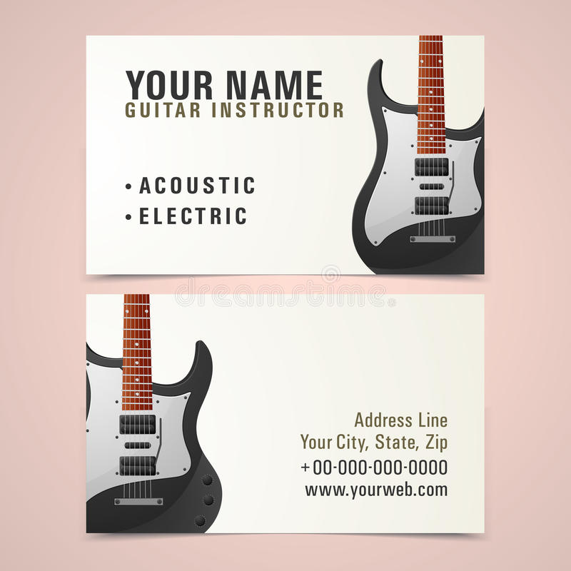 Business Card Design For Music Instructor. Stock Photo - Image of ...