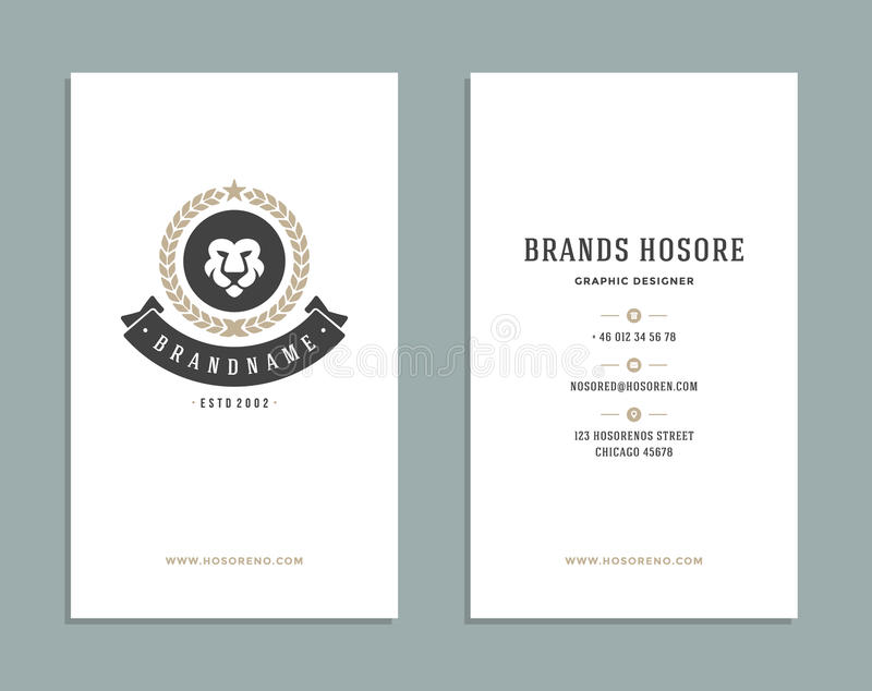 Business Card Design And Retro Logo Template. Vector Design Element ...