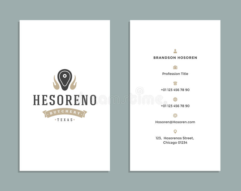 Business Card Design And Retro Style Template Butcher Shop Logo ...