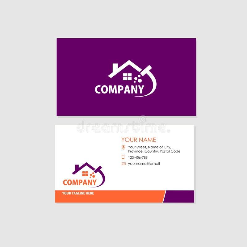 Business Card Design Template, Cleaning Company illustration de vecteur