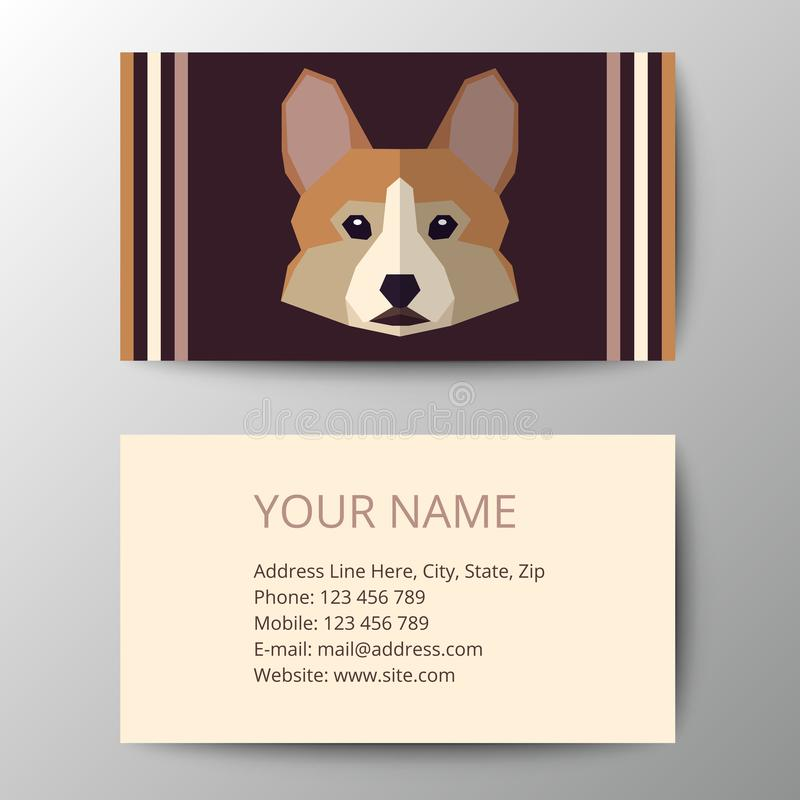 Business Card With Dog Head. Stock Vector - Illustration of funny ...