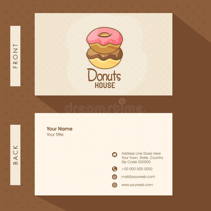 Business Card For Donuts Shop. Stock Illustration - Illustration of ...