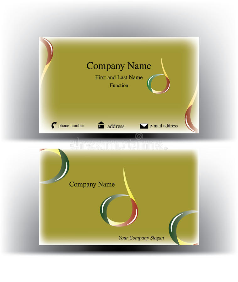 Business Card With Drop Logo Along With An Abstract Olive Shape ...