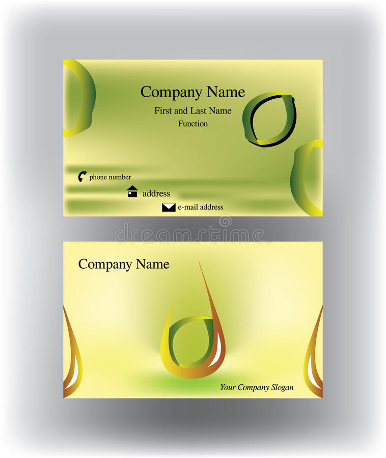Business Card With Drop Logo And Lemon Form Stock Vector - Image ...