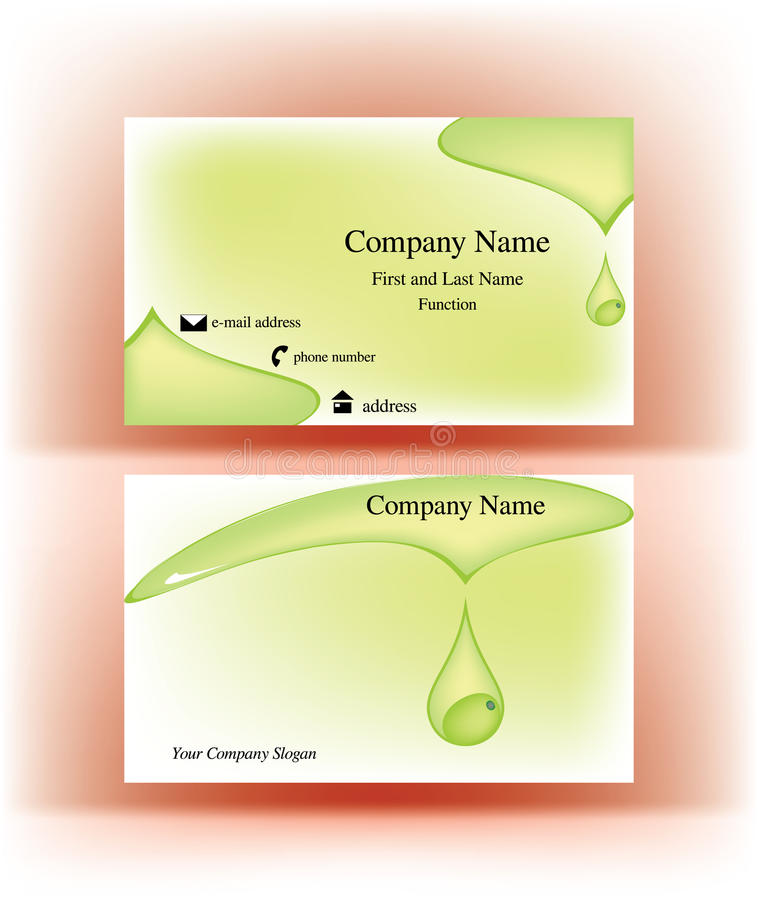 business card with falling drop design stock vector illustration