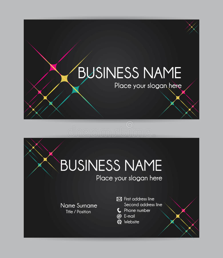 Business card. Flat design. Set III. Business card. Flat design. Front and back set III stock illustration
