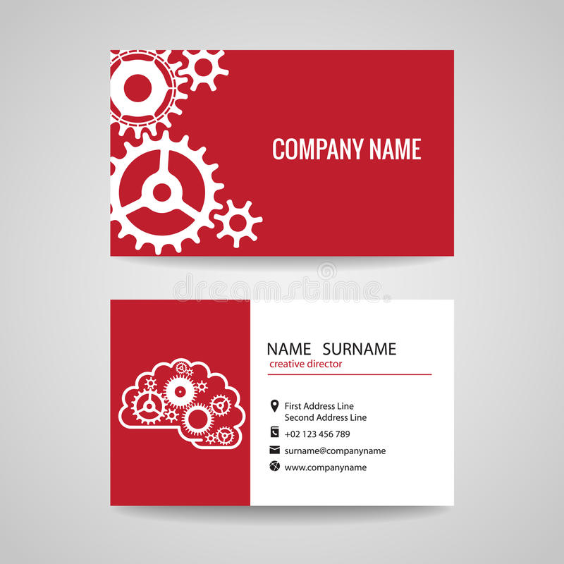 Business Card Gear Idea For Engineer And Mechanical Stock Vector ...
