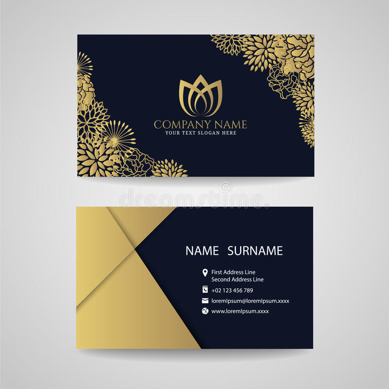 Business card - gold floral frame and lotus logo and gold paper on dark blue background stock illustration