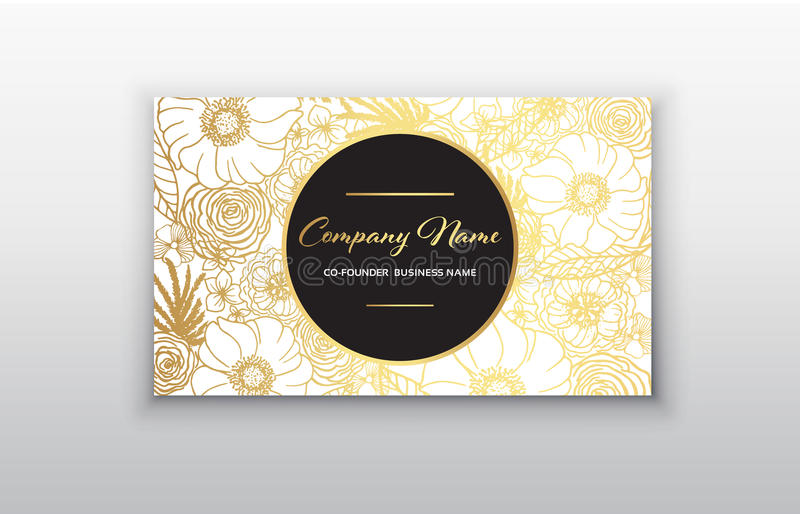 Business card - gold floral frame. Stylish golden premium luxury business card template design stock illustration