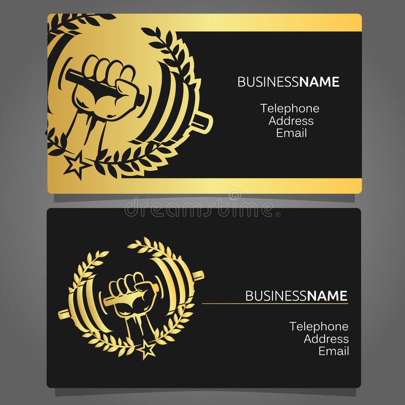 Business card for a gym stock vector. Illustration of muscular ...