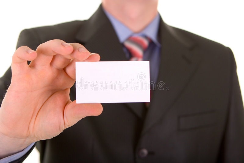 Business card in a hand royalty free stock photos
