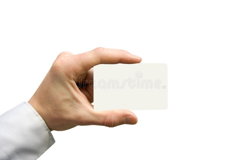 Business card in hand royalty free stock images