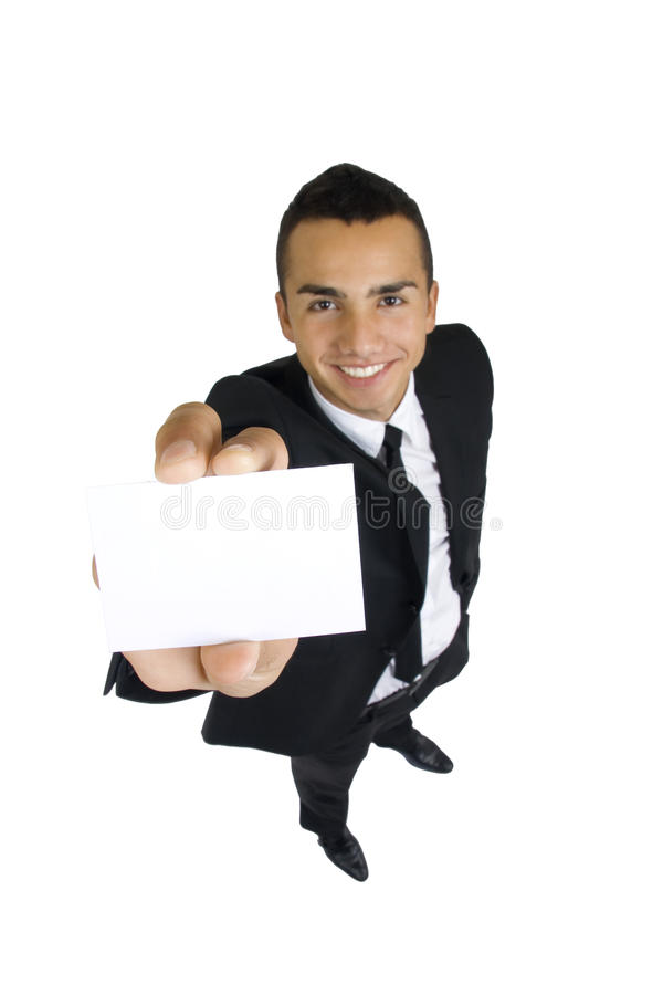 Business card in the hand of business man royalty free stock photos