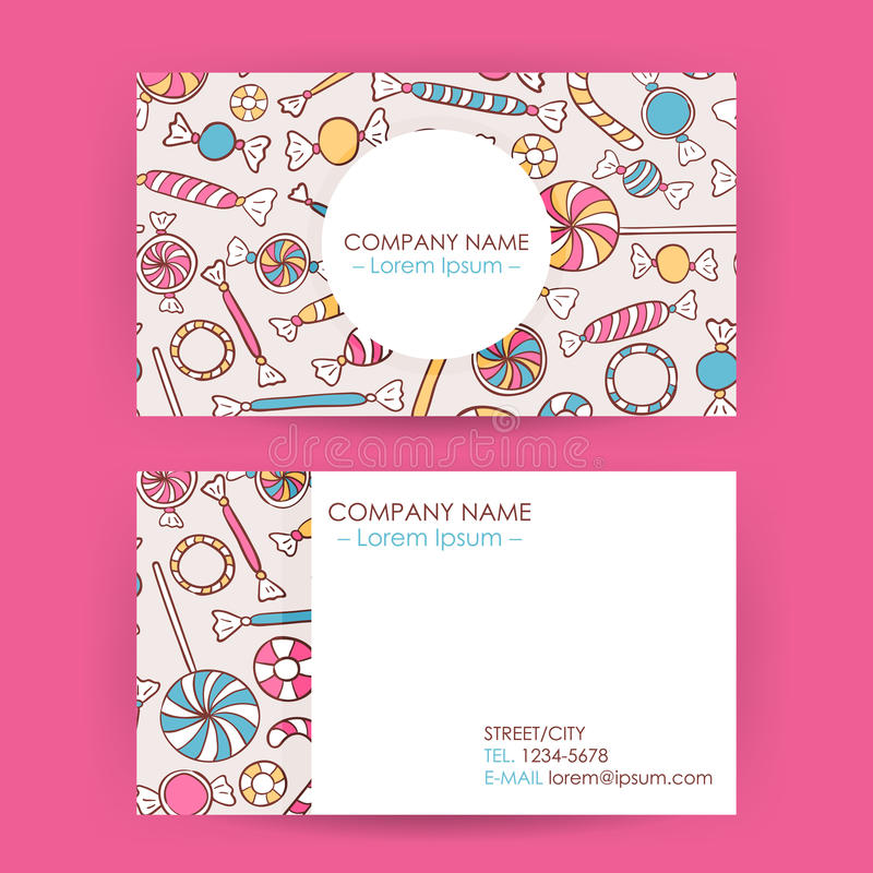 Business Card Hand Drawn Candy Sweets Background Stock Vector ...