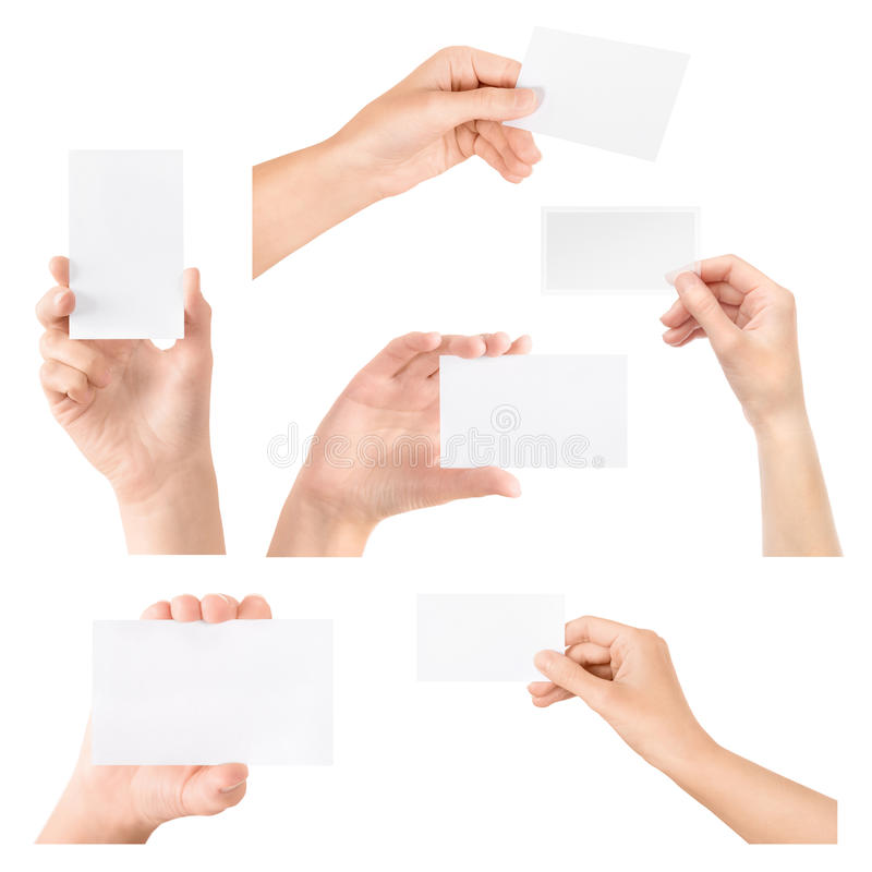 Business card in hand isolated set royalty free stock photography