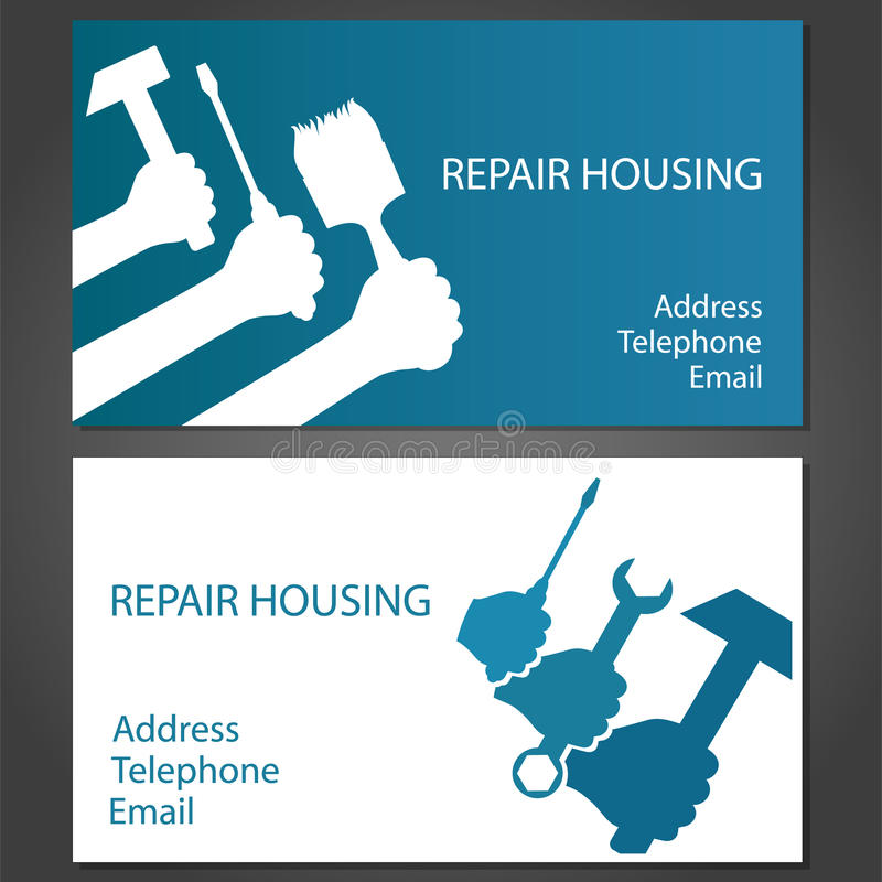 Business Card For Home Repair Stock Illustration - Illustration of ...