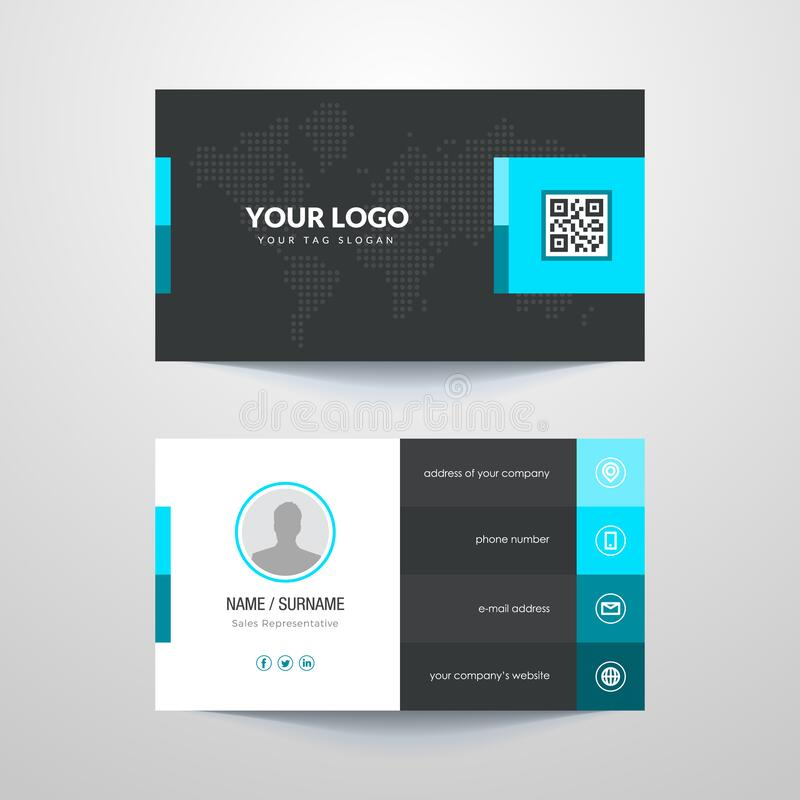 Business card. Business card layout with blue elements royalty free illustration