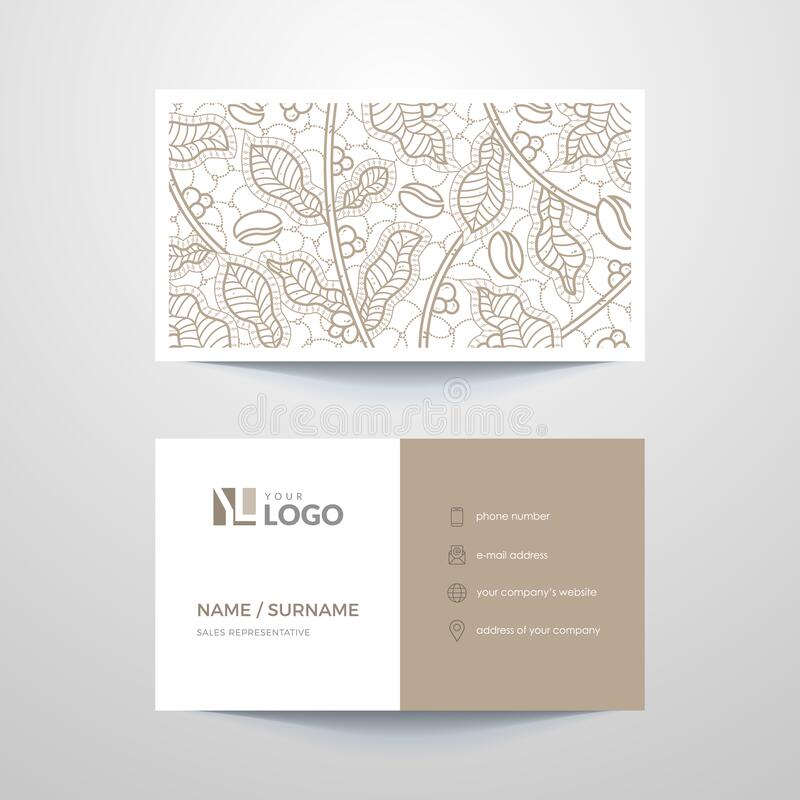 Business card. Business card layout with brown elements royalty free illustration