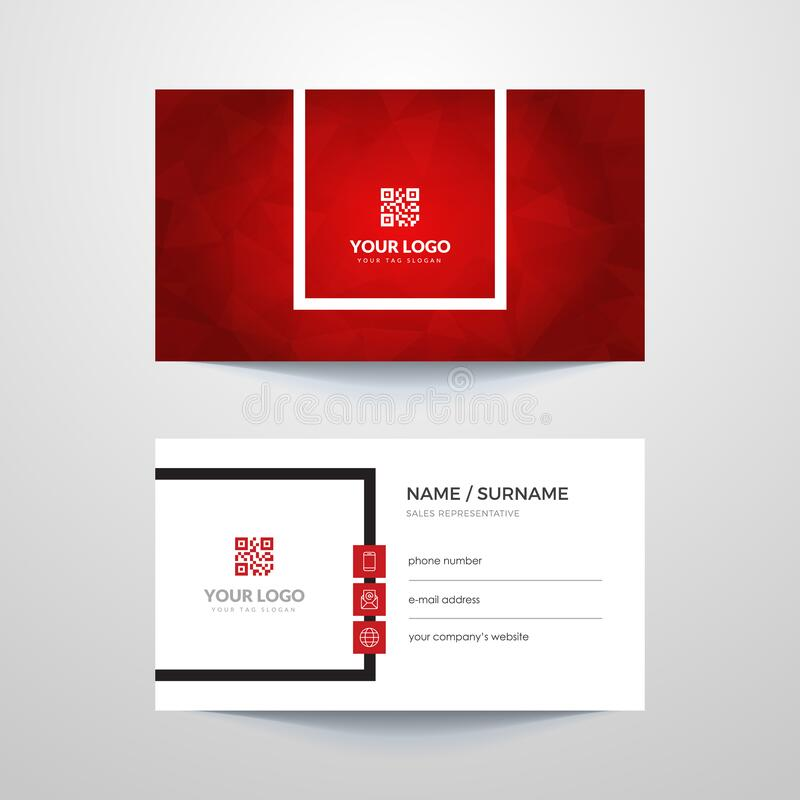Business card. Business card layout with red elements royalty free illustration