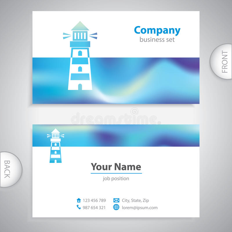 Business card - Lighthouse icon - signaling signs - symbol sea -. Company template vector illustration