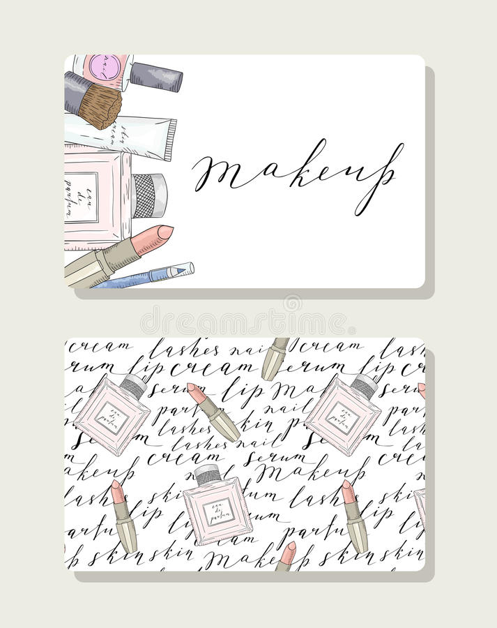 Business Card For Makeup Artist With Pattern Words About Beauty ...
