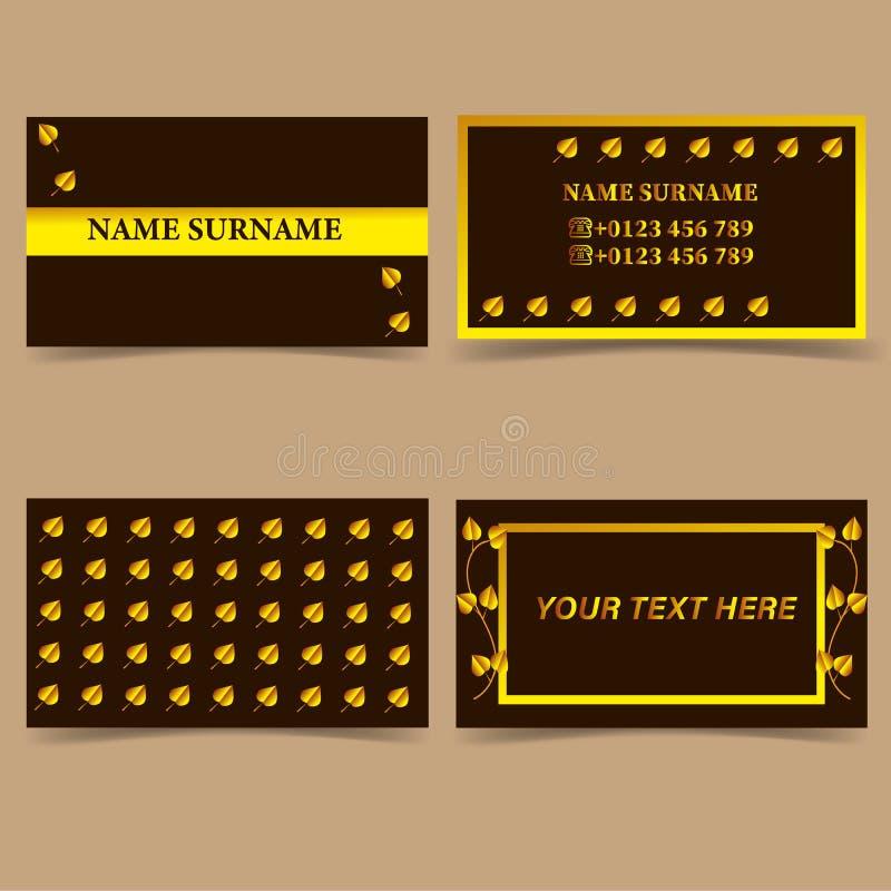Business card-modern design, set of Golden leaves royalty free illustration