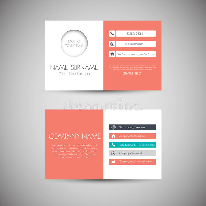 Business Card. Modern simple light business card template with flat user interface royalty free illustration