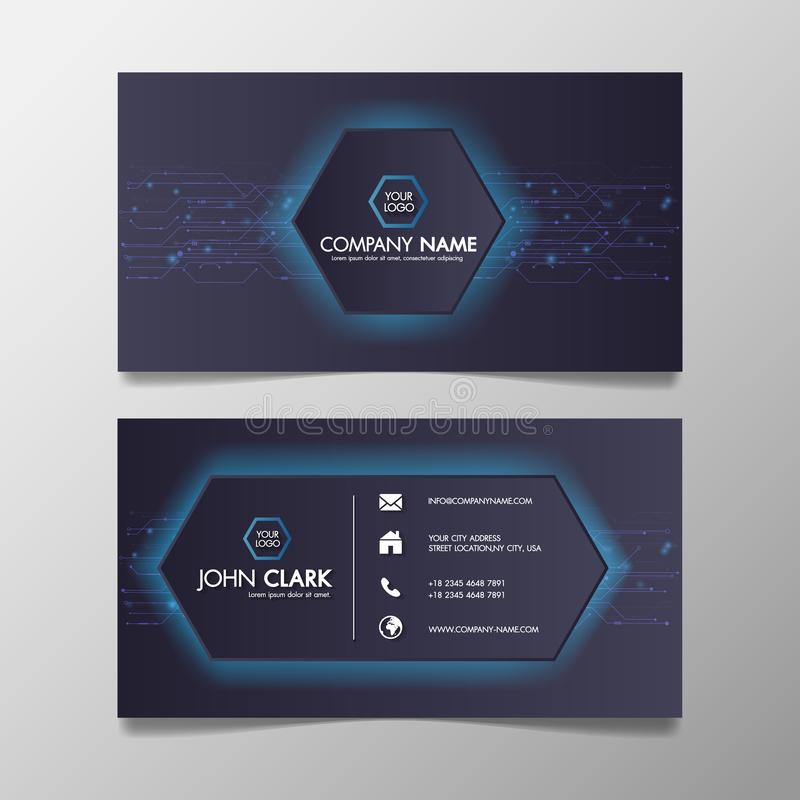 Business card modern technology network light blue and Black template creative and Clean, Illustration abstract color professional. And designer vector illustration