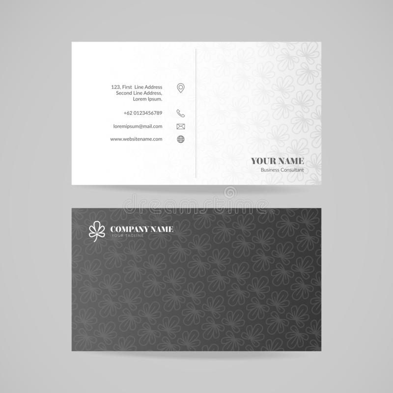 Business card name design template with floral pattern, vector illustration. vector illustration