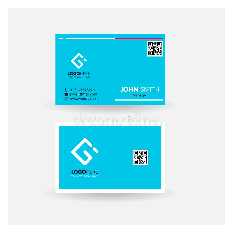 Business card name card simple design_light cyan blue tosca royalty free illustration