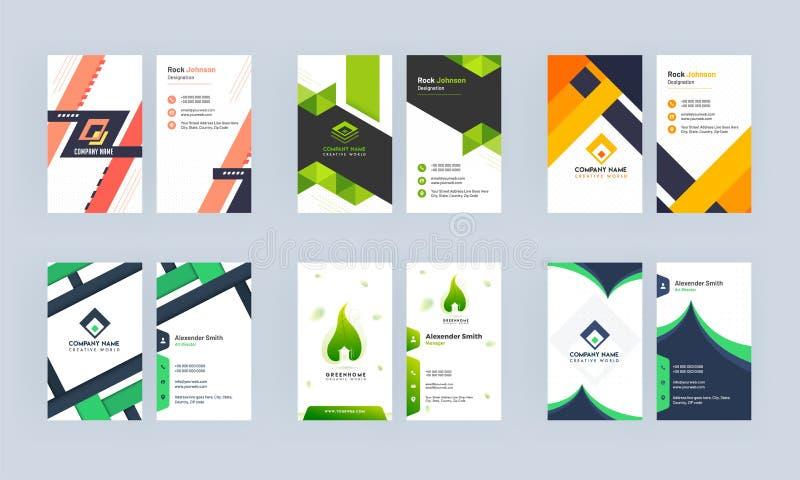 Business Card oder Template Design Set mit abstraktem Look vektor abbildung