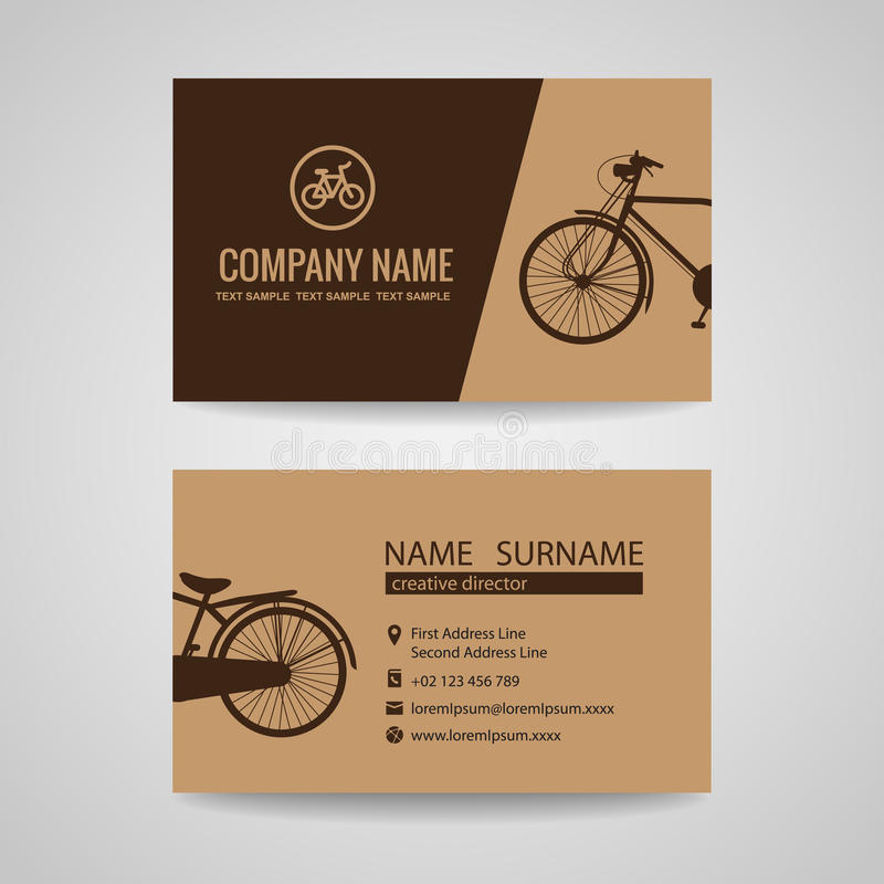 Business card for old vintage bicycle shop or about the Bike stock illustration