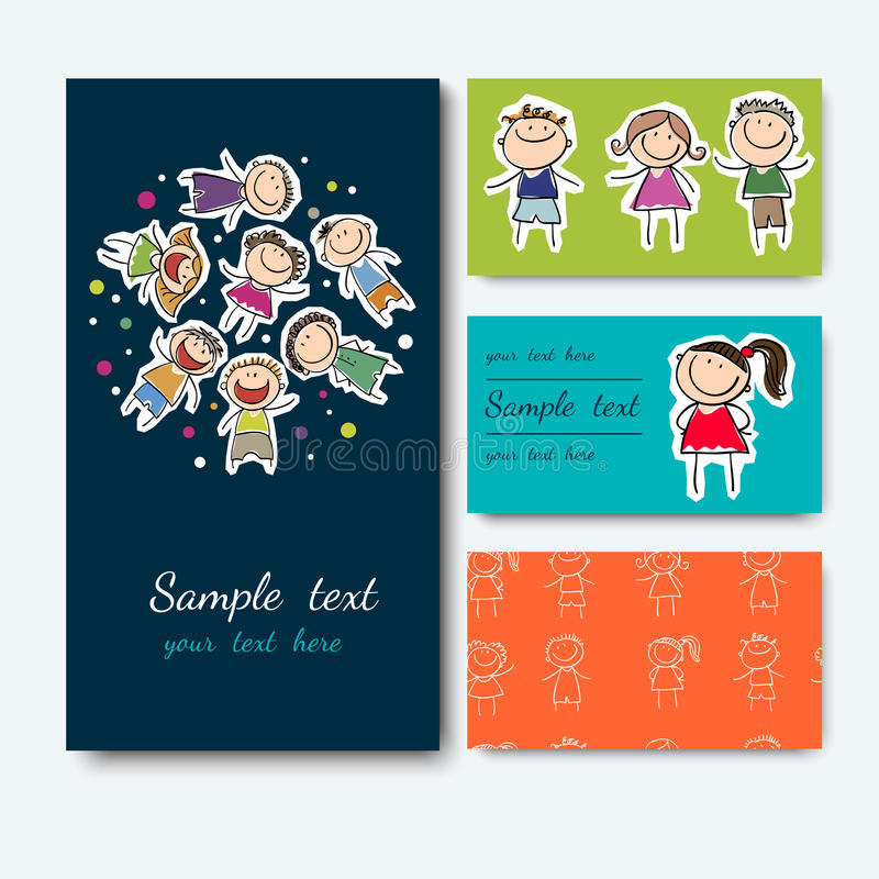 Business Card With A Picture Of Children Stock Vector - Illustration ...