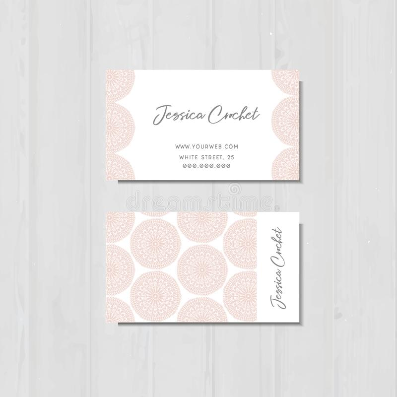 Business Card With Pink Laces, Handmade Crochet Business Card Stock ...
