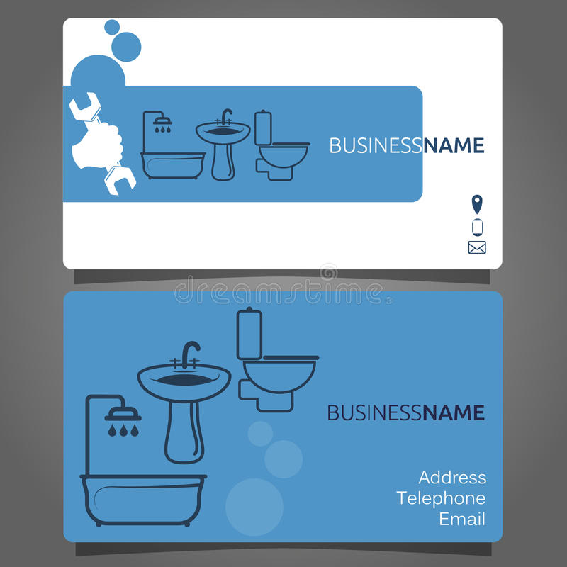 Business Card For Plumbing Services Stock Vector - Illustration of ...
