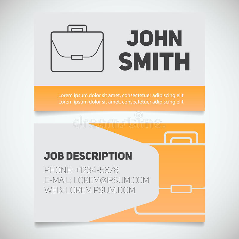 Business card print template with briefcase logo stock vector download business card print template with briefcase logo stock vector image 76530032 reheart Image collections