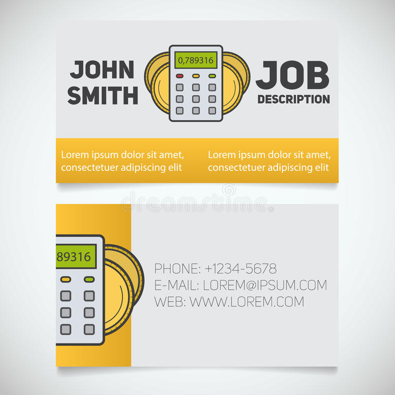 Business Card Print Template With Calculator And Coins Logo Stock ...