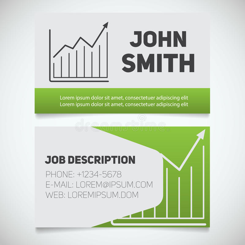 Business Card Print Template With Growth Chart Logo Stock Vector
